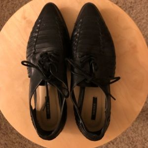 Black pleather cutout oxfords